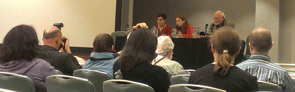 "The ""Who Owns Your DNA Sequence?"" panel at Loncon 3. LtoR: Liz Batty, Susan Connolly, G. David Nordley. Photo Source: Shell"