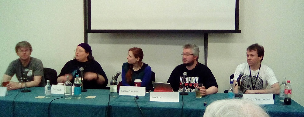 "The ""Widescreen Space Opera"" panel at Mancunicon. LtoR: Mark Sinclair, Caz Rudd, Susan Connolly, Ian Snell, Martin Glassborow"