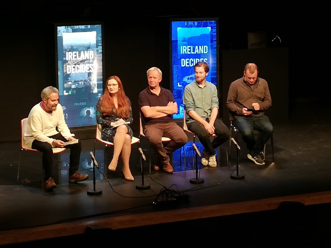 "Postshow discussion of ""The Alternative"" play at Draíocht Theatre. LtoR: Gavin Kostick, Susan Connolly, Arthur Riordan, Fionntán Larney, and Rory Nolan. Photo Source: Fishamble Theatre Company"